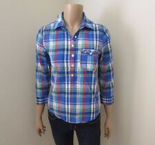 Hollister Womens Plaid Shirt Size Small Top Blouse 3/4 Sleeves Colorful