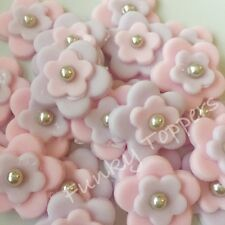 Comestible Pastel Fondant Toppers Lila Rosa Pastel Plata Perla Baby Shower Cumpleaños