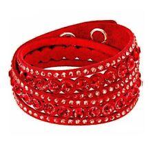 Adjustable Red Double Wrap Slake Bracelet Made with Swarovski Elements