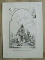 AR1) Architektur Wien 1901 Entwurf Grabkapelle Carl v Freyseysen Holzstich 27x37