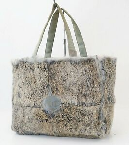 Auth CHANEL Blue and Gray Rabbit Fur and Suede Tote Hand Bag #40533