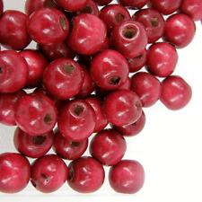 *100* Dark Red Wooden Round Craft Beads 12mm W202