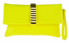 New Faux Leather Foldover Clutch Bag Envelope Studs Celeb Women Gold Chain Retro