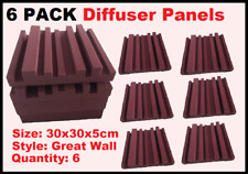 6 PACK Sound Diffuser - Burgundy Foam - Sound Treatment Absorber Panel Studio