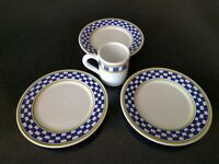 RARE Vintage WILLIAMS SONOMA ITALY BLUE YELLOW CHECKERED PLATES COFFEE MUG