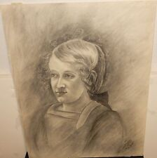 VAGNER WOMAN FACE OLD ORIGINAL PENCIL DRAWING SIGNED AND DATED 1918