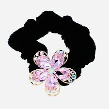 Flower Hair Rope Wrap Rhinestone Crystal Scrunchies Ponytail Holder Pink F52