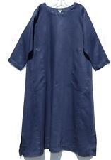 Eskandar DARK NAVY Meium Weight  Linen Imperial Scoop Neck Dress (0) $990