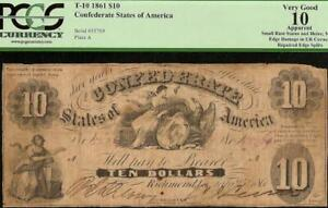 1861 $10 DOLLAR BILL CONFEDERATE STATES CURRENCY CIVIL WAR NOTE MONEY T-10 PCGS