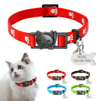 Nylon Paw Print Breakaway Cat Collar with Custom Personalized Cat Name ID Tags