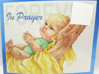 """Counted Cross Stitch Kit IN PRAYER FOREVER BABY 14"""" X 11"""" Janlynn faith child"""