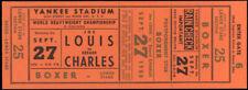 JOE LOUIS-EZZARD CHARLES ORIGINAL ON SITE FULL TICKET (1950)