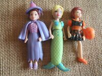 Polly Pocket Lot of Halloween Costumes Dolls Mermaid Witch Cat 6-1