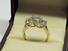 2.50Ct Round-Cut Diamond Three Stone Engagement Ring 14k Yellow Gold Finish