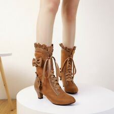 Women's Bowknot Mid-calf Boots Lace Block Mid Heels Boot Round Toe Strappy Shoes