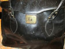 Large Vintage Purse, Black Shiny Leather