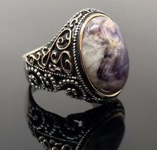 Beautifully Handcrafted 925 Sterling Silver Amethyst Men's Ring -US Seller- I1F