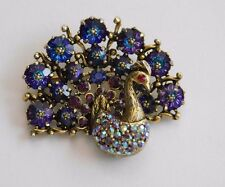 VINTAGE SIGNED WEISS SPARKLY MARGARITA RHINESTONE PEACOCK BROOCH 2""