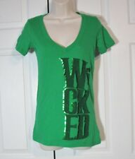 Wicked Broadway Musical Theater T-Shirt Green Women V Neck S Cotton