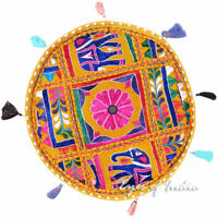 "17"" Yellow Colorful Patchwork Round Floor Cushion Seating Pillow Cover Throw Boh"