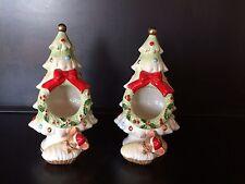 Vtg set of 2 Josef Originals mouse under Christmas tree candle holders Japan