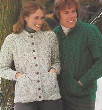 "Ladies & Mens Aran Cardigans Knitting Pattern with pockets 34-36"", 39-41"" 1093"