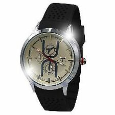 Eagle Time Men's Black Silicone Strap Watch 5542 (Black/Ceramic Cream)