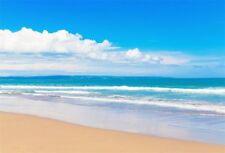 Beach Seaside Photo Backdrop Blue Sky Clouds Background Vinyl Studio Props 7x5ft