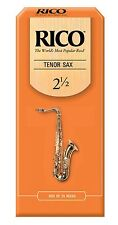 25 Pack Rico Tenor Saxophone Reeds # 2.5 Strength 2 1/2 RKA2525