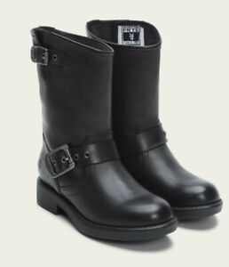 A1 FRYE Youth Black Engineer Leather Moto Boots Youth 13