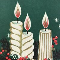 Vintage Mid Century Christmas Greeting Card Green White Gold Striped  Candles