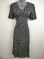 WOMENS DEBENHAMS NAVY BLUE WHITE FLOWERS FLORAL SHORT SLEEVE FITTED DRESS UK 10