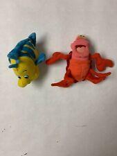 Vintage Little Mermaid Plush Flounder And Sebastion Keychain Disney Toy Rare