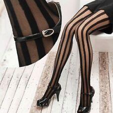 Sheer Punk Women Girl Gothic Tights Pantyhose Vertical Stripe Black Stockings