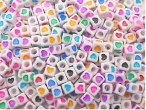 50 Pcs -  7mm White Cube Heart Spacer Beads Mixed Colour Hearts Kids Craft E305