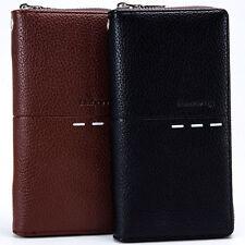 Men's Bifold Leather Zipper ID Credit Card Coin Bankbook Passport Wallet