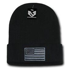 Black USA Flag Tonal Patch US American Patriotic Knit Skull Beanie Cap Hat