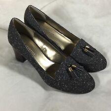 Anne Klein Shoes Sz 9M Heels Dress Brown Speckled Tassels Work Slip On