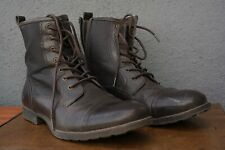 Designer GUESS Brown CHUKKA ANKLE BOOTS MENS 10.5 Zipper LEATHER LACE UP