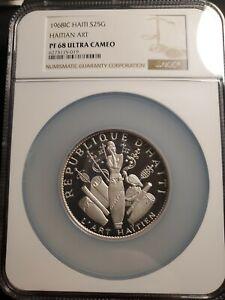 1968 Haiti Silver Proof 25 Gourdes Coin Haitian Art - NGC PF 68 UC