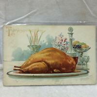 Vintage Postcard Embossed Thanksgiving Day Greeting Turkey Motif 1908 Tucks