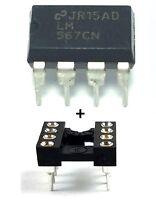 10PCS Texas Instruments LM567CN LM567 + Sockets - Tone Decoder DIP-8 - New IC