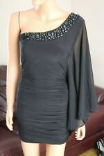 Stunning Jane Norman Black Cold Shoulder Grecian Style Bodycon Mini Dress SZ 12