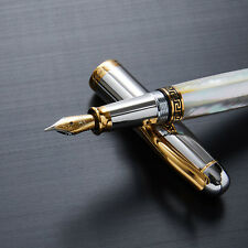 Xezo Maestro Mother of Pearl 18K Gold Pl Medium Point Handcrafted Fountain Pen