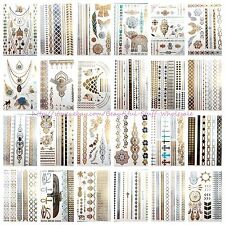 20 sheets wholesale temporary metallic flash Temp Tattoos for Adults
