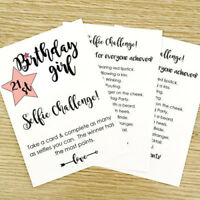 8 x Birthday Girl Selfie Challenge Game Party Cards Photo Selfie Game 18th 21st