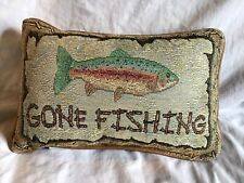 Cabela's GONE FISHING Colorful Needlepoint Look Specialty Decor Pillow *NWOT*