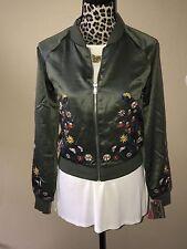 NWT Xhilaration Olive Green Floral Embroidery Bomber Jacket Sz L Autumn Daze Col