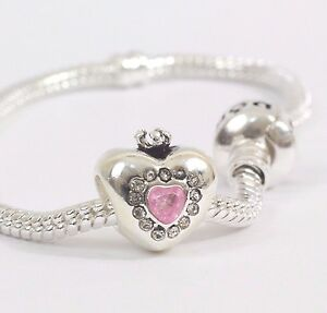 New Heart Crown Pink disney SILVER Plated Charm Fits European Bracelet UK SELLER