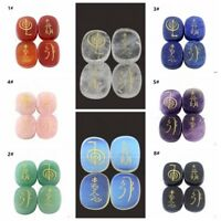 4 Pcs Usui Reiki Engraved Symbol Healing Energy Sanskrit Palm Crystal Stone Set